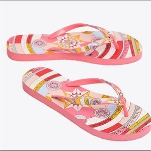 NWT TORY Burch Thin Flip Flops Pink Constellation